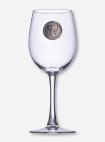Texas Tech Heritage Pewter Double T Emblem on Wine Glass