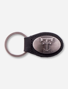Double T With Rubber Grip Pewter Keychain