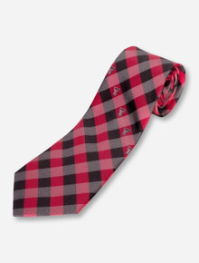 Texas Tech Double T Stripe on Red & Black Plaid Tie