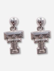 Double T Sterling Silver Studded Drop Earrings