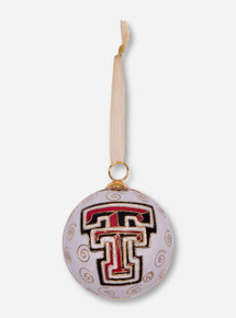 Kitty Keller Double T White Ball Ornament - Texas Tech