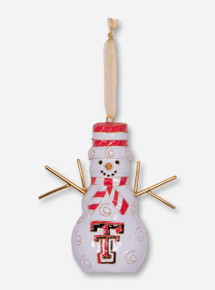 Kitty Keller Snowman Double T Ornament - Texas Tech