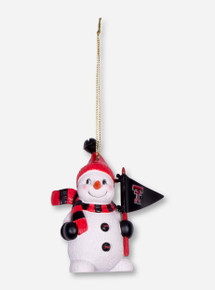 Snowman with Double T Pennant Resin Ornament
