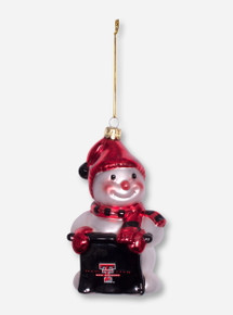 Snowman with Texas Tech Sign Glass Ornament
