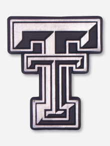 Texas Tech Matte Chrome Double T Car Emblem
