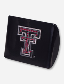 Texas Tech Chrome and Red Rhinestone Double T on Black Hitch Cover