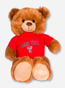 Large Brown Bear with Red Texas Tech T-Shirt