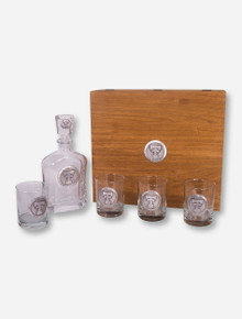 Heritage Pewter Texas Tech Emblem Liquor Decanter and Glasses in Wooden Gift Box