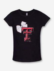 Summit Texas Tech Rhinestone Double T with Bow YOUTH T-Shirt