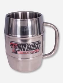 Texas Tech Red Raiders Metal Emblem on Stainless Macho Barrel Tankard