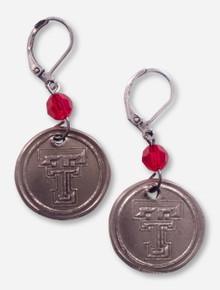 Texas Tech Double T White Copper Earings