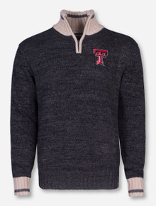 Double T on Charcoal Quarter Zip Pullover - Texas Tech