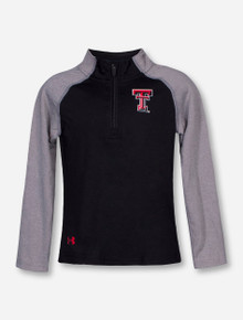 Under Armour Texas Tech Double T on Black and Grey TODDLER Quarter Zip Pullover