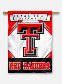Vertical Texas Tech Red and White Flag