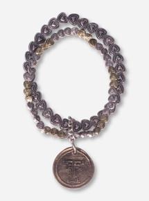 Texas Tech Double T Antique Bronze Heart Bracelet