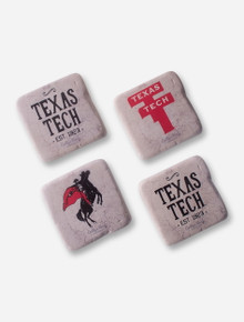 Set of 4 Assorted Vintage Texas Tech Coasters with Stand