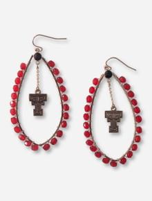 Texas Tech Double T Gemstone Oblong Hoop Earrings