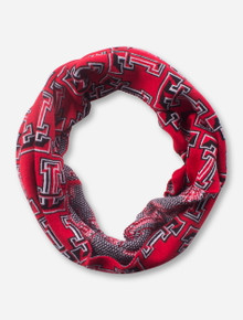 Repeating Double T on Red Infinity Scarf - Texas Tech