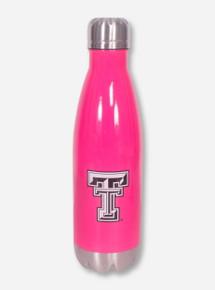 Texas Tech Double T Twist on Stainless Steel Neon Pink Water Bottle