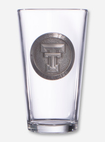 Texas Tech Double T Silver Emblem on Pint Glass