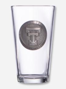 Texas Tech Double T Silver Emblem on Pint Glass