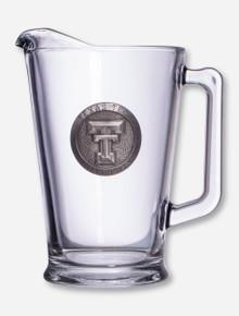 Texas Tech Double T Silver Emblem on Glass Pitcher