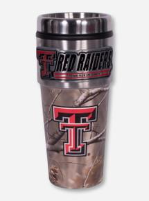 Texas Tech Metallic Double T Red Raiders Emblem on Camo Travel Tumbler