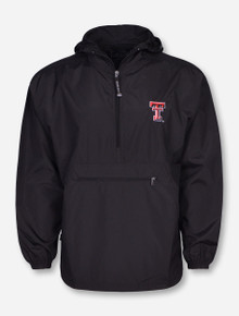 """Charles River Texas Tech """"Pack N Go"""" Half Zip Pullover in Black Front"""