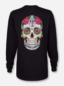 Dia de los Muertos Sugar Skull Black Long Sleeve - Texas Tech
