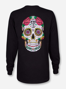 Dia de los Muertos Sugar Skull Black Long Sleeve - Texas Tech