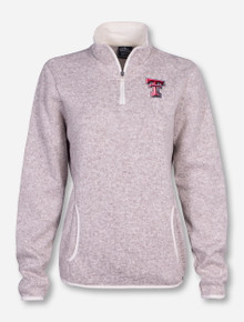 Charles River Texas Tech Double T Women's Heathered Cream Fleece Pullover