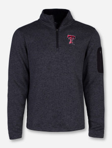 Charles River Texas Tech Double T Men's Heather Charcoal Fleece Pullover