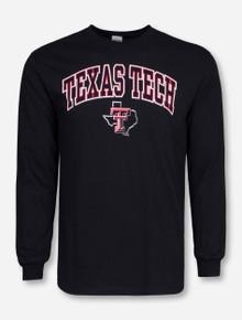 Texas Tech Arch with Lone Star Pride on Black Long Sleeve Shirt
