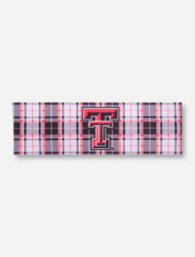 Texas Tech Double T Red and White Plaid Hairband