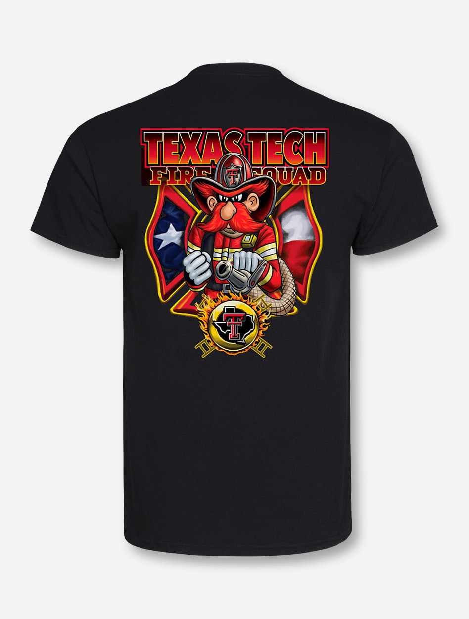 Texas Tech Red Raiders Fire Department On Black T-Shirt