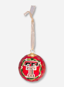 Kitty Keller Double T Wreath with Gold Swirls Cloisonne Ornament - Texas Tech