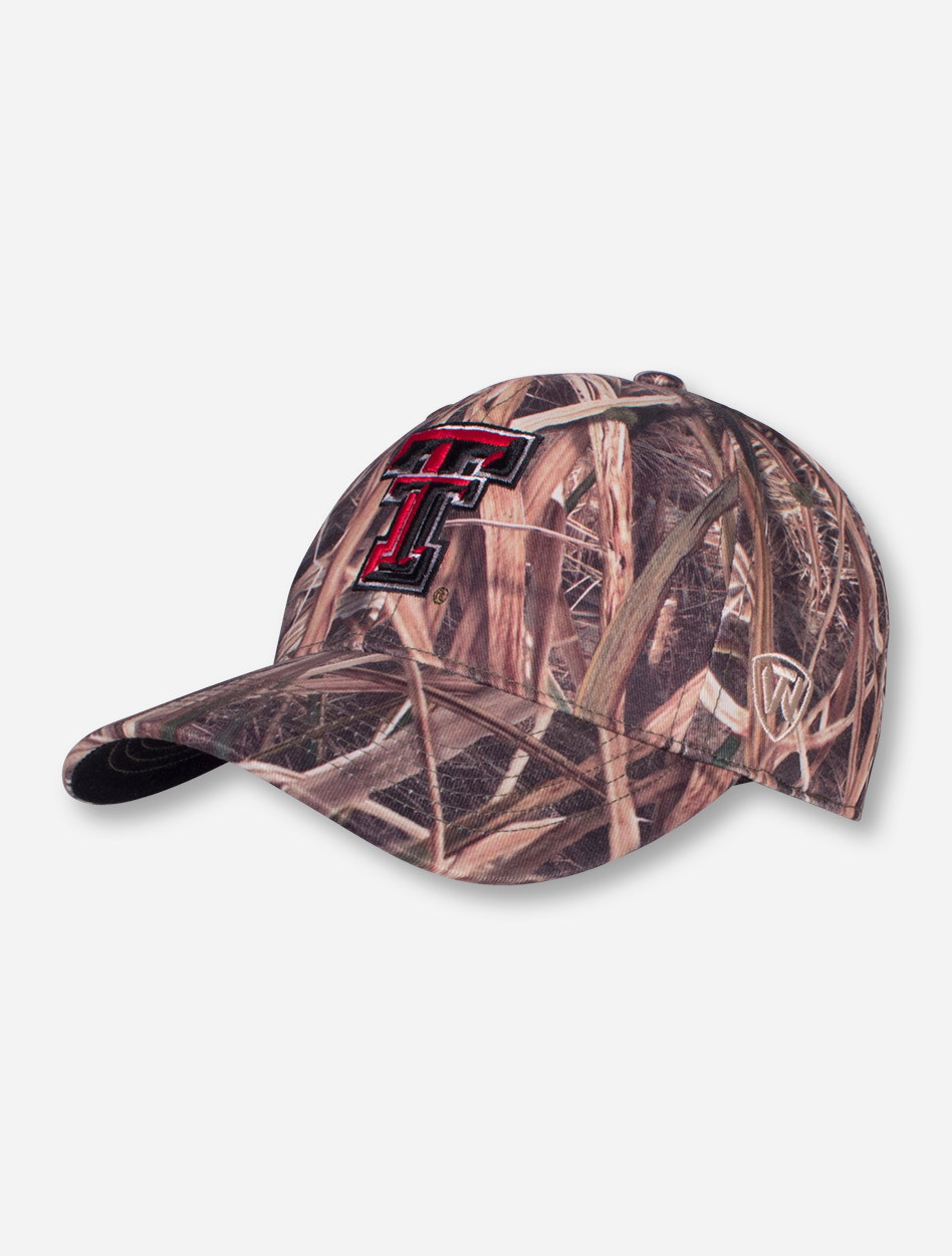 03a21c1c3cb8b Top of The World Texas Tech Red Raiders Double T Camo Stretch Fit Cap