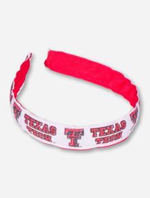 Texas Tech Double T on White Ribbon Hair Band