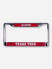 Texas Tech Alumni on Red and Chrome License Plate Frame