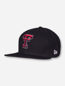 New Era Texas Tech Double T on Black Flat Bill Fitted Cap