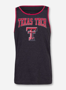 Arena Texas Tech Double T Heather Charcoal and Red Tank Top