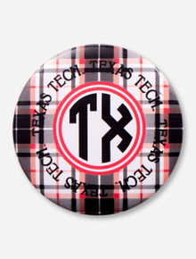Texas Tech Plaid Monogram Gameday Button