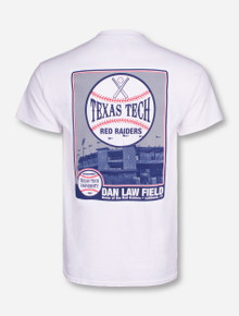 Texas Tech Dan Law Field Photo on White T-Shirt