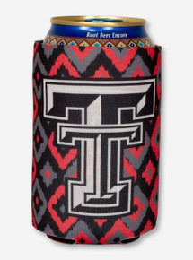 Texas Tech Double T on Red and Black Diamond Print Can Cooler