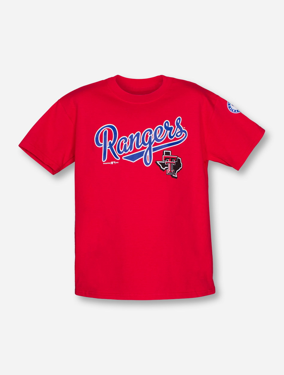 online store b823f 9b160 Champion MLB Texas Rangers and Texas Tech Lone Star Pride on YOUTH Red  T-Shirt