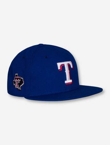 New Era MLB Authentic Official On the Field Texas Rangers and Texas Tech  Red Raiders Royal Blue Fitted Cap 46c4ca235a3
