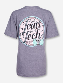 Texas Tech Seersucker Script on Heather Grey V-Neck T-Shirt