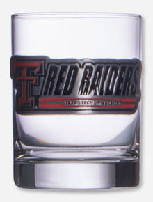 Texas Tech Metallic Double T Red Raiders Emblem on Cocktail Glass
