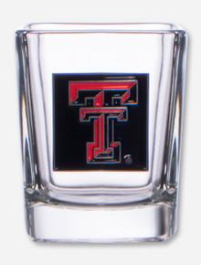 Texas Tech Double T Enamel Emblem on Square Shot Glass