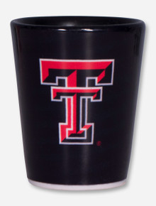 Texas Tech Double T on Black Shot Glass
